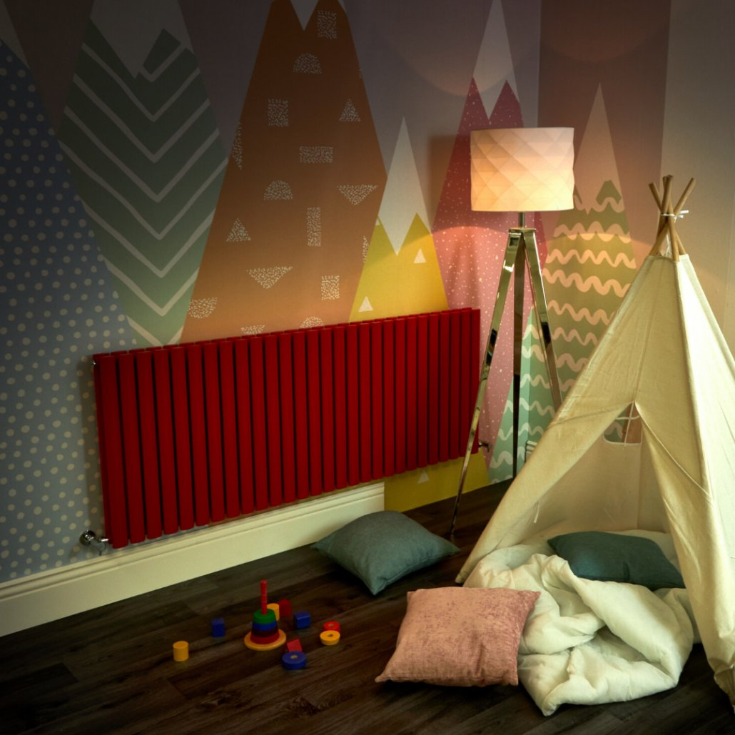 red Milano Aruba radiator in a playroom