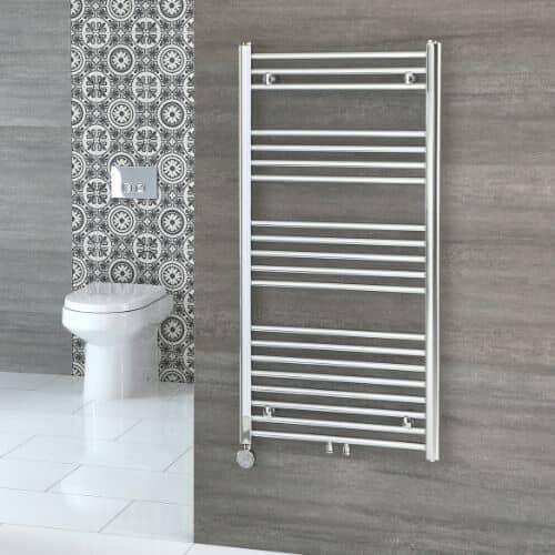 electric heated towel rail in a bathroom