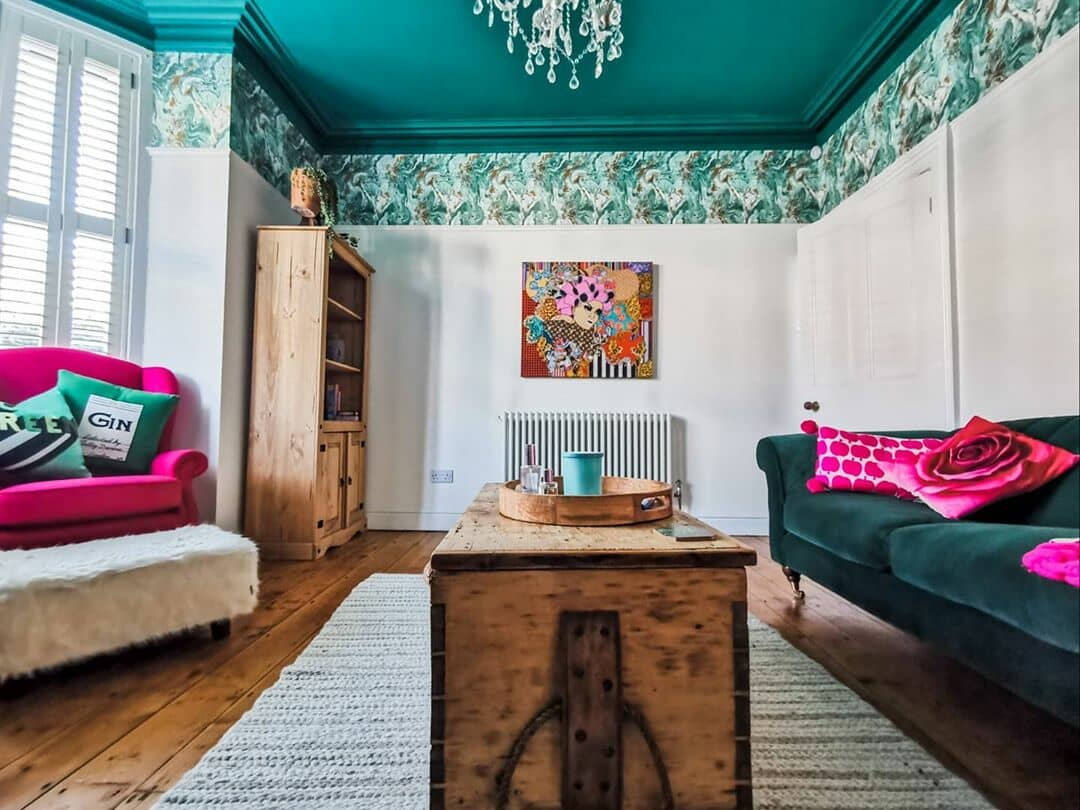 column radiator in a colourful living room
