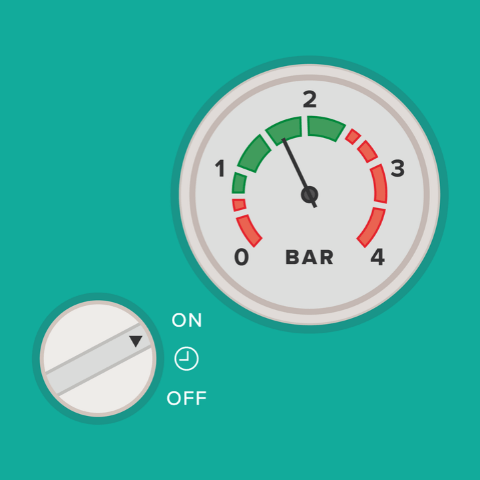 boiler pressure gauge when the heating is on
