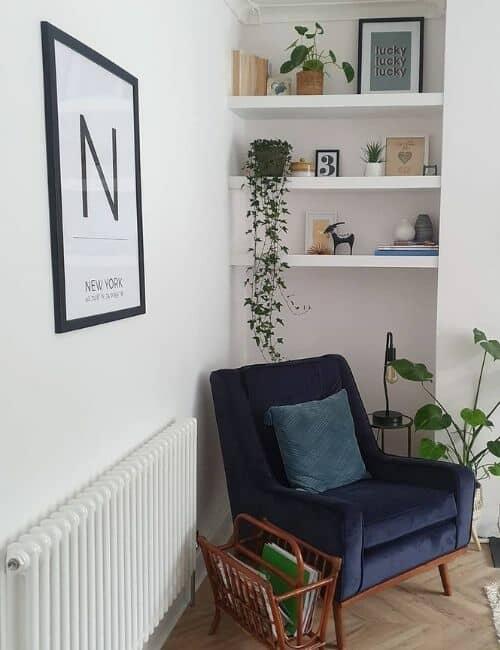 white column radiator in a living room