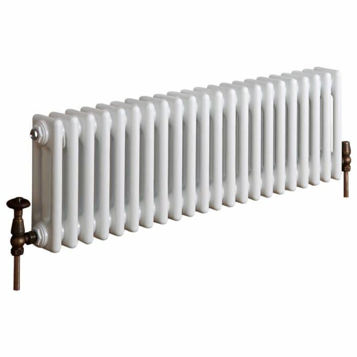 Milano Windsor - Horizontal Triple Column White Traditional Cast Iron Style Radiator - 300mm x 1010mm