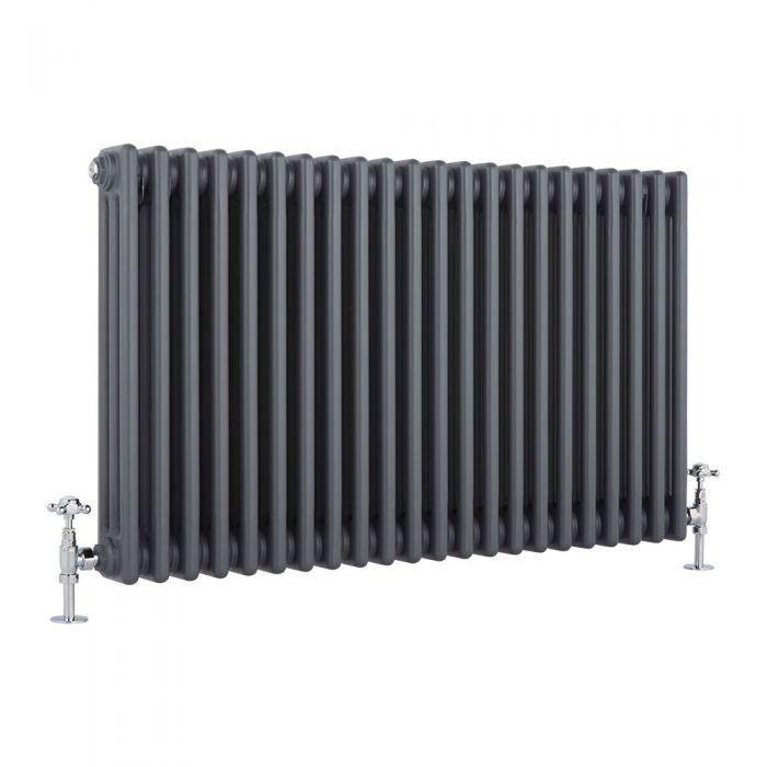 Milano Windsor - Horizontal Triple Column Anthracite Traditional Cast Iron Style Radiator - 600mm x 1010mm
