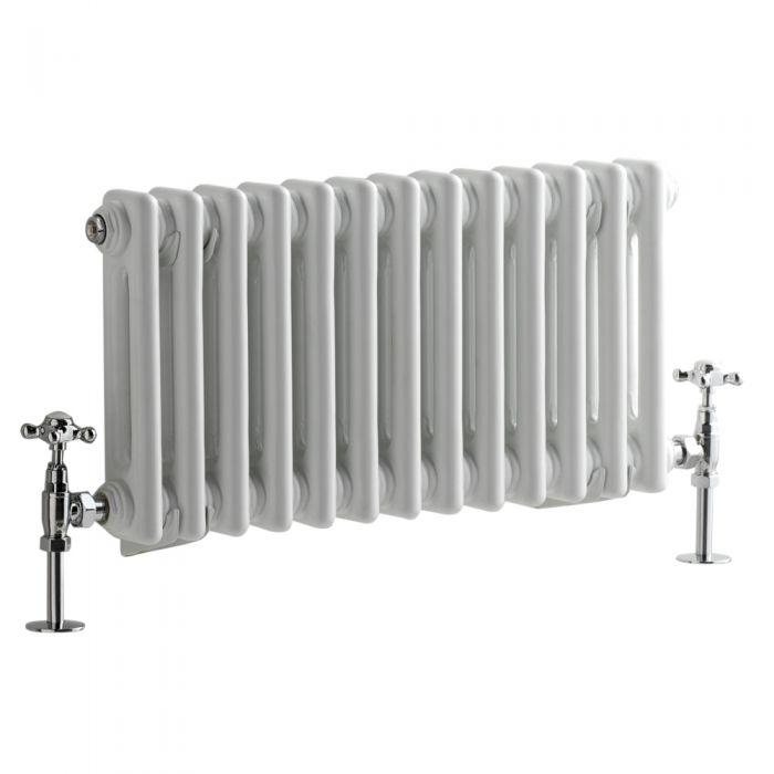 Milano Windsor - Horizontal Double Column White Traditional Cast Iron Style Radiator - 300mm x 605mm