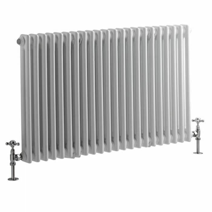 Milano Windsor - Horizontal Double Column White Traditional Cast Iron Style Radiator - 600mm x 1010mm
