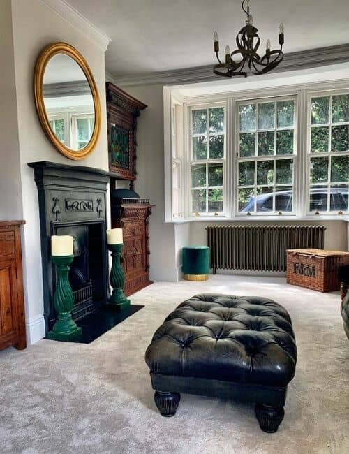 bronze radiator in a period style living room