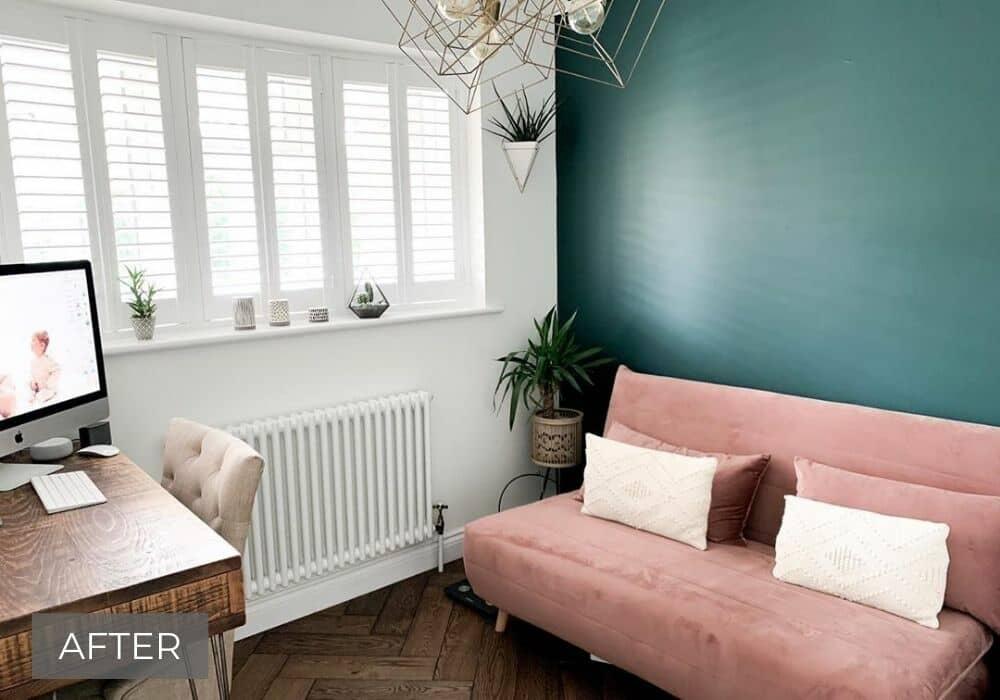 column radiator in a modern home office