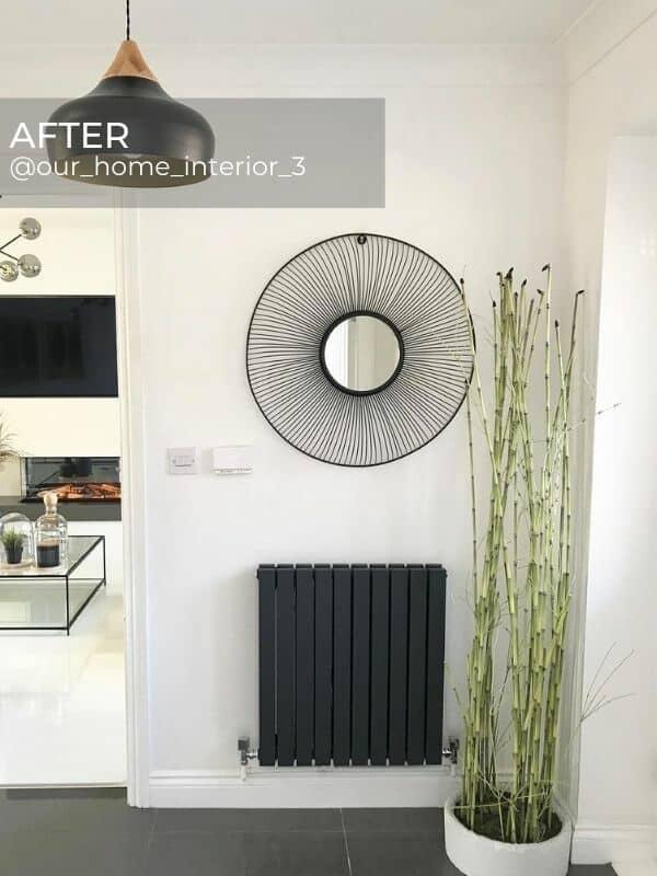 milano alpha designer radiator in a hallway