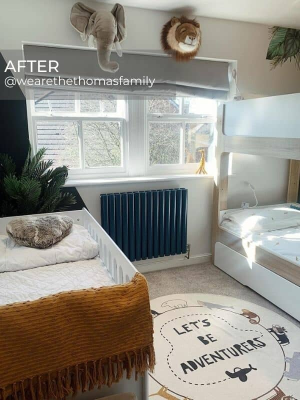 dark blue designer radiator in a modern boy's bedroom