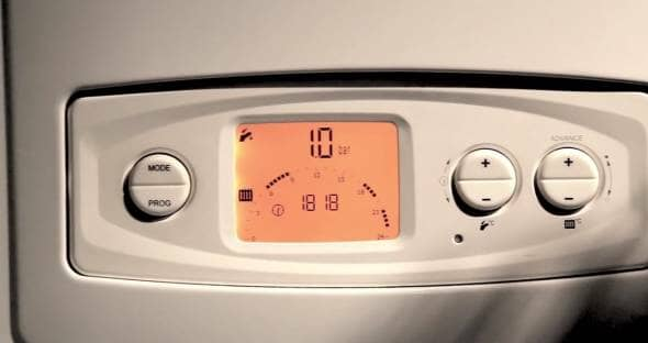 screen and display of a standard gas boiler