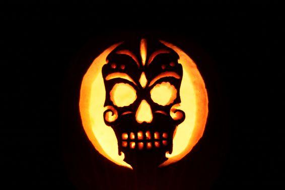 A skull in a pumpkin