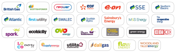 a selection of UK energy suppliers