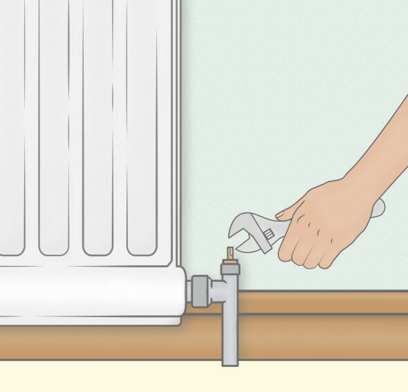 fix a leaky radiator with a spanner