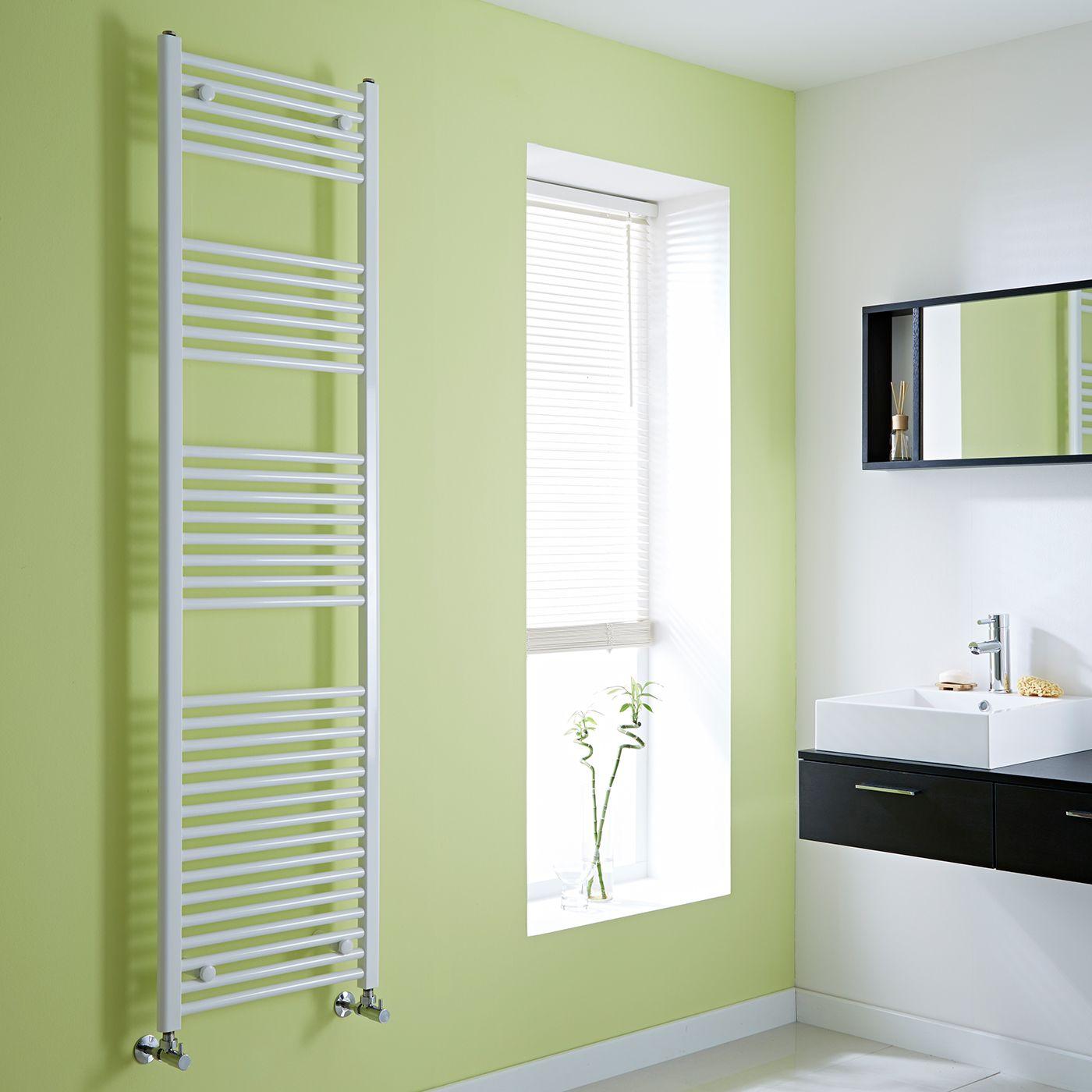 Large White Flat Heated Towel Rail