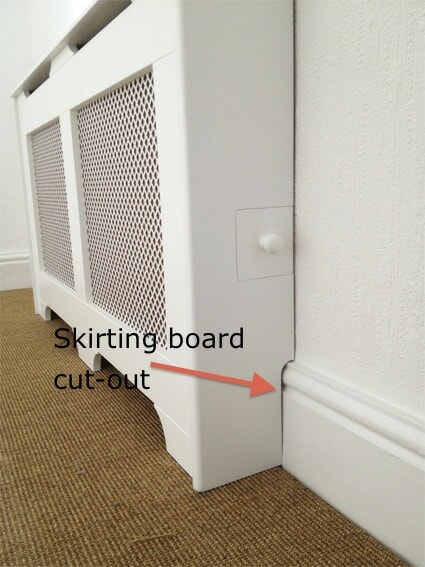 A picture of a radiator cover with a little door for the TRV
