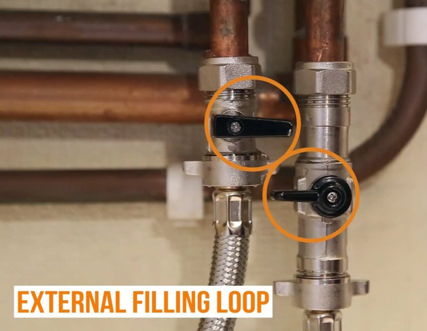 Image of an external central heating filling loop