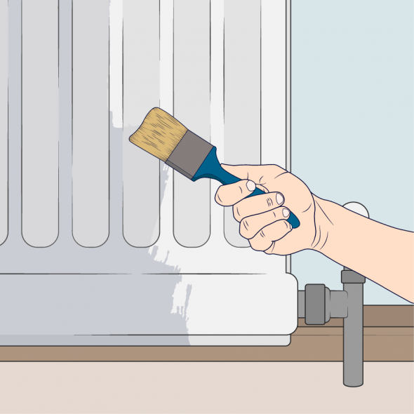 close up of person painting primer onto a radiator