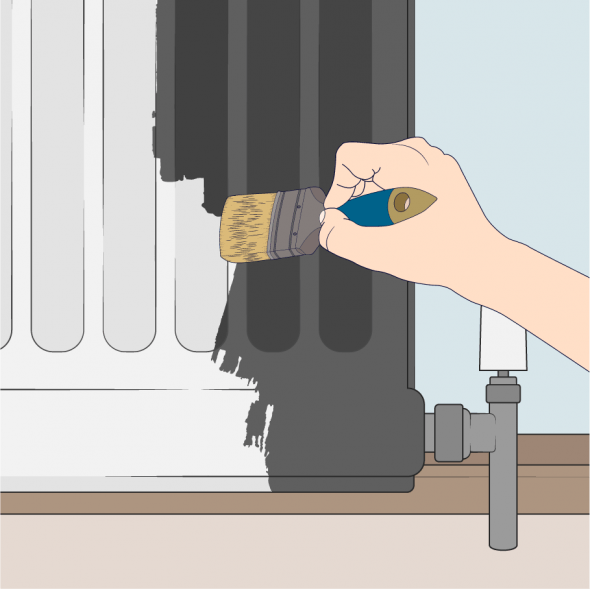 close up of person painting a radiator with a topcoat