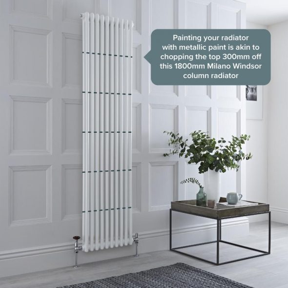 why does metallic paint reduce the heat output of a radiator
