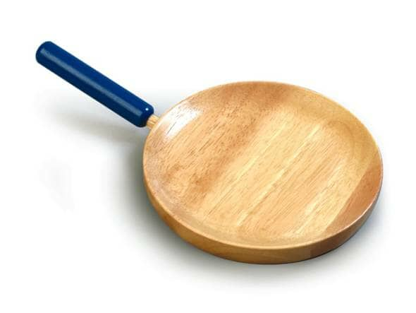 A wooden frying pan with a blue handle