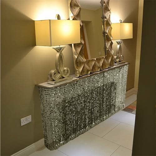 Crystal radiator cover in a hallway