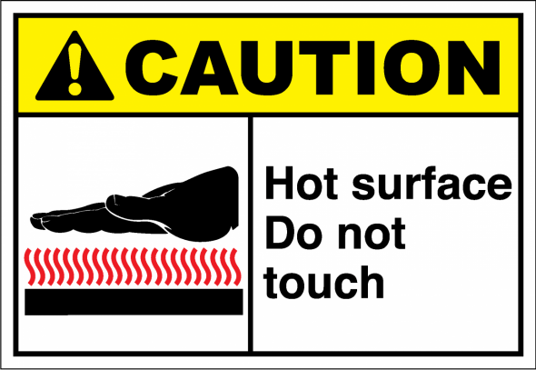 Safety sign that tells people that something will be hot