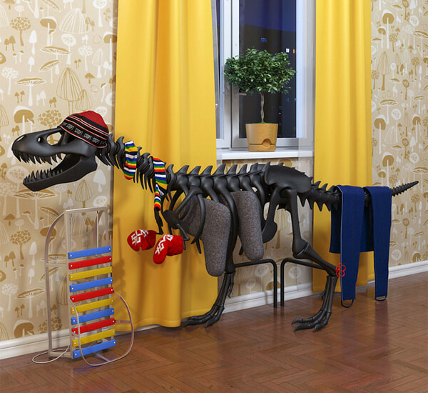 A radiator designed to look like a tyrannosaurus rex