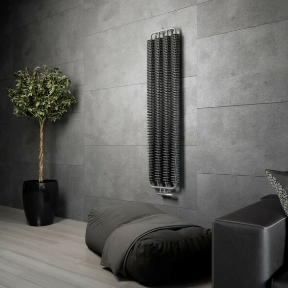 A Terma Ribbon radiator on a wall in grey