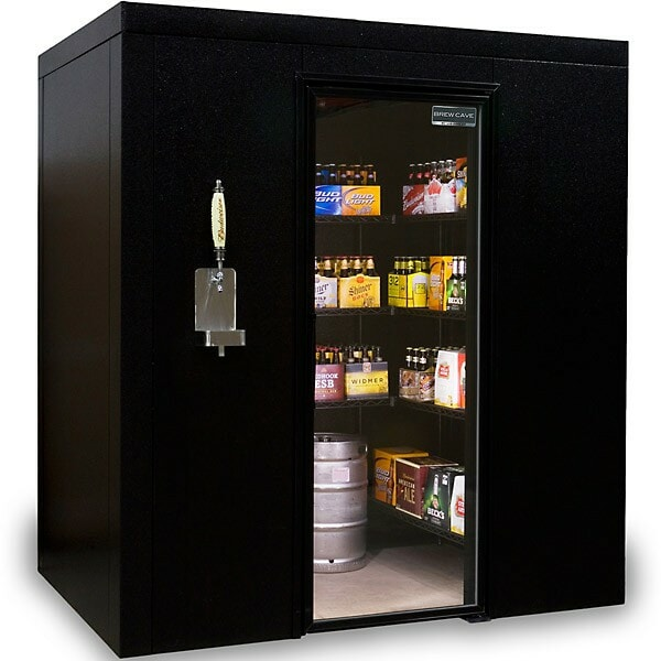 An image of a walk-in beer cooler