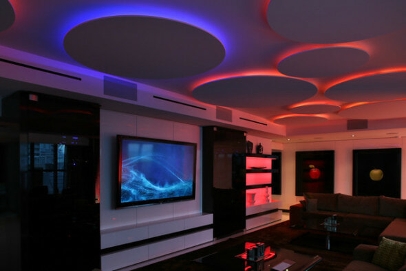 man cave lit up with striplights