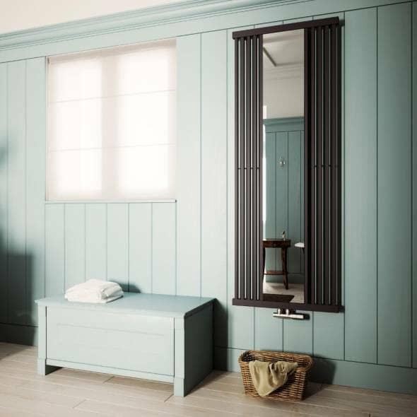 Tall vertical terma intra designer radiator with a mirror