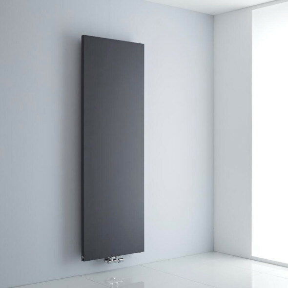 grey flat panel radiator on a white background