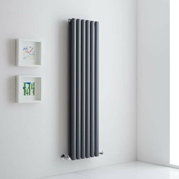 grey radiator on a white wall lifestyle image