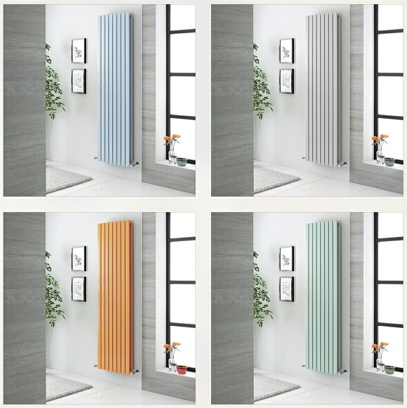 a four piece picture of coloured radiators.
