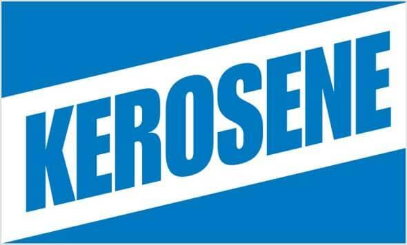 a big blue kerosene sign