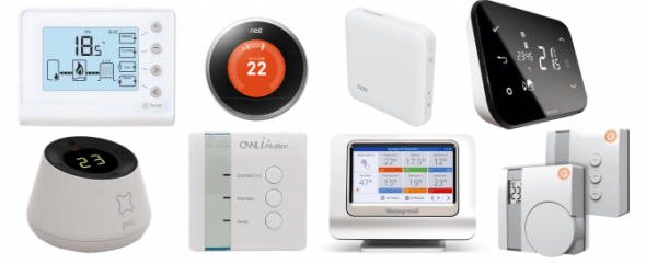 a collage of all of the smart heating appliances