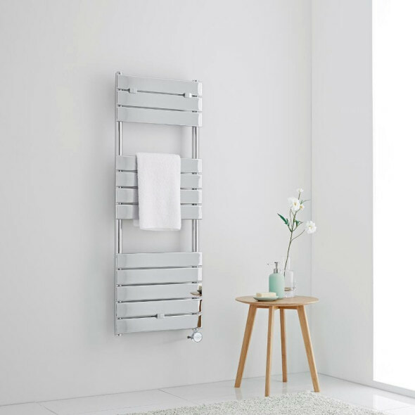 Milano Lustro electric heated towel rail on a white wall in a bathroom
