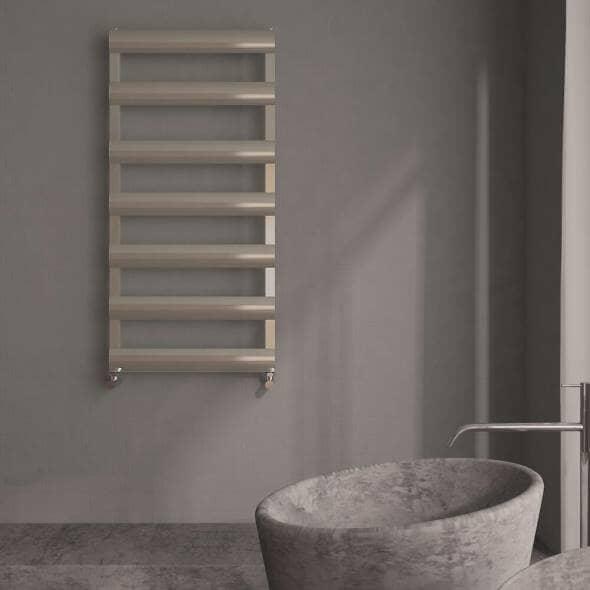 Brushed chrome Milano Passo alumnium designer heated towel rail