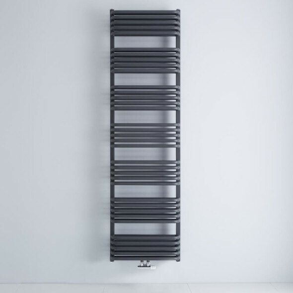 The Milano Bow Central Connection bar on bar heated towel rail in anthracite