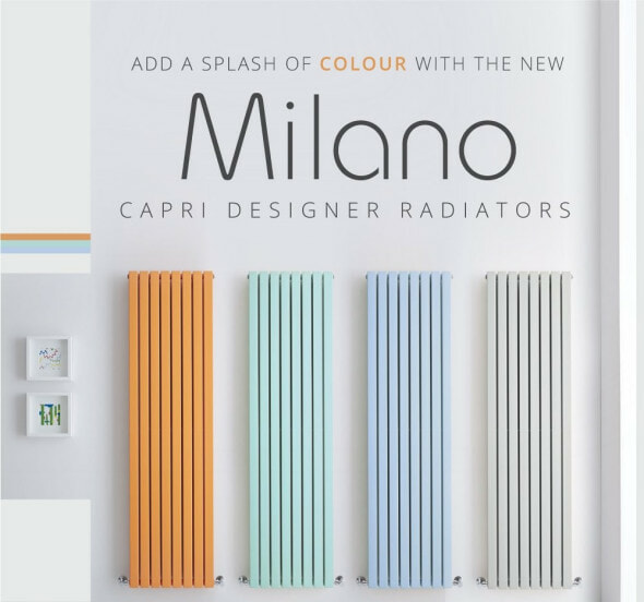 four coloured milano capri radiators in a row