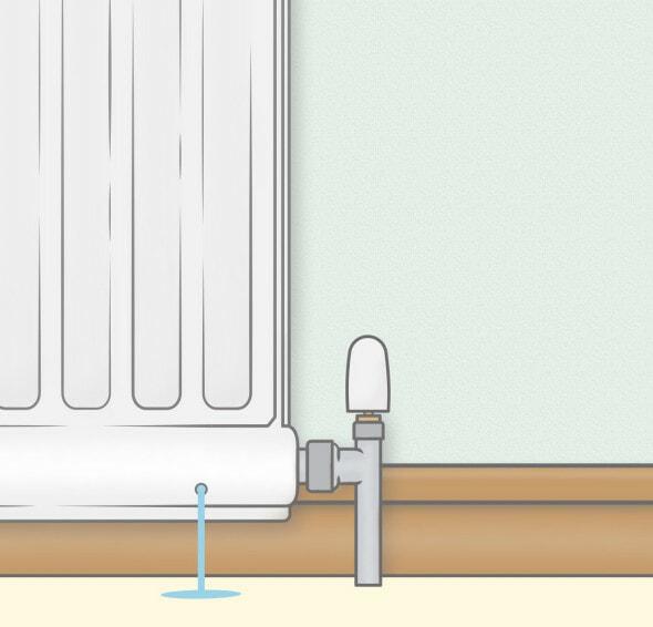 cartoon image of a radiator leaking from a pinhole leak