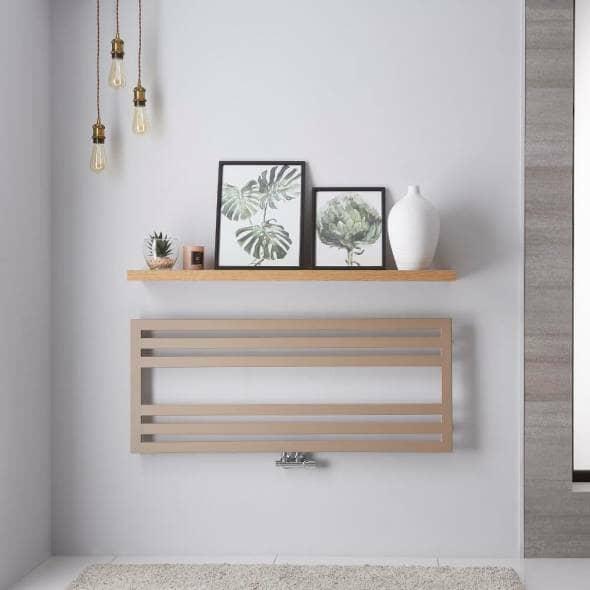 lazzarini urbino heated towel rail on a grey bathroom wall