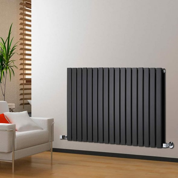 black radiator on cream wall