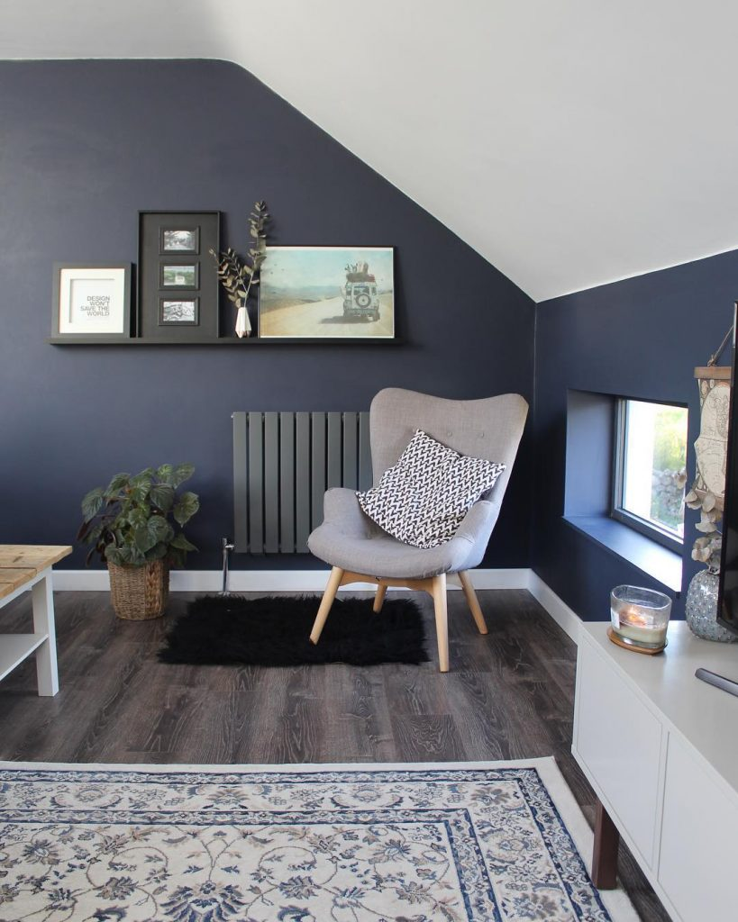 an anthracite designer radiator on a navy wall