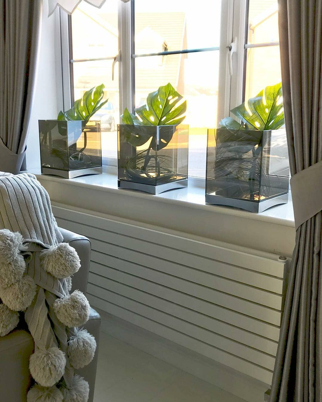long white radiator under a window