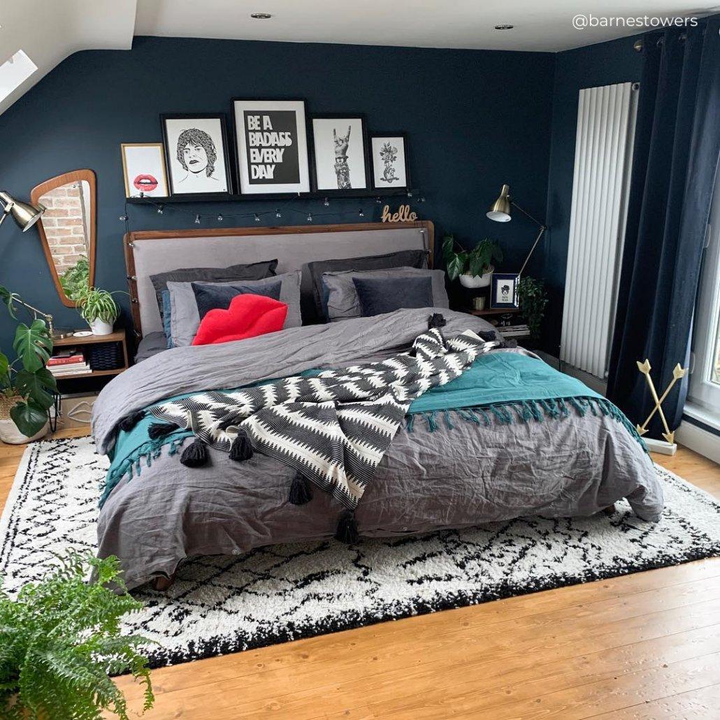 white vertical radiator in a blue bedroom