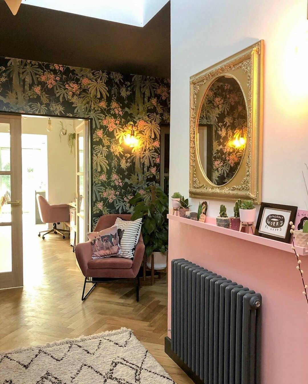 anthracite column radiator on a pink wall