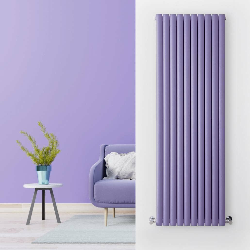 purple radiator in a purple living room