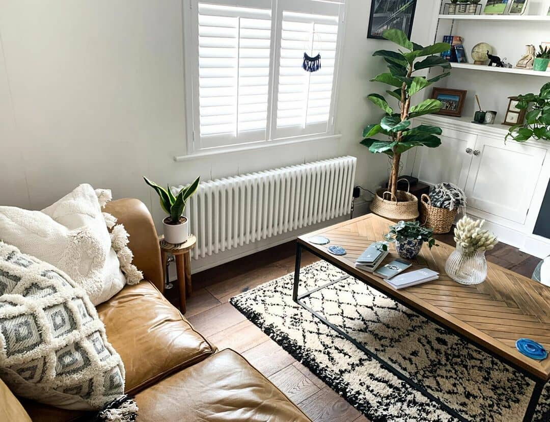 low level column radiator in a living room