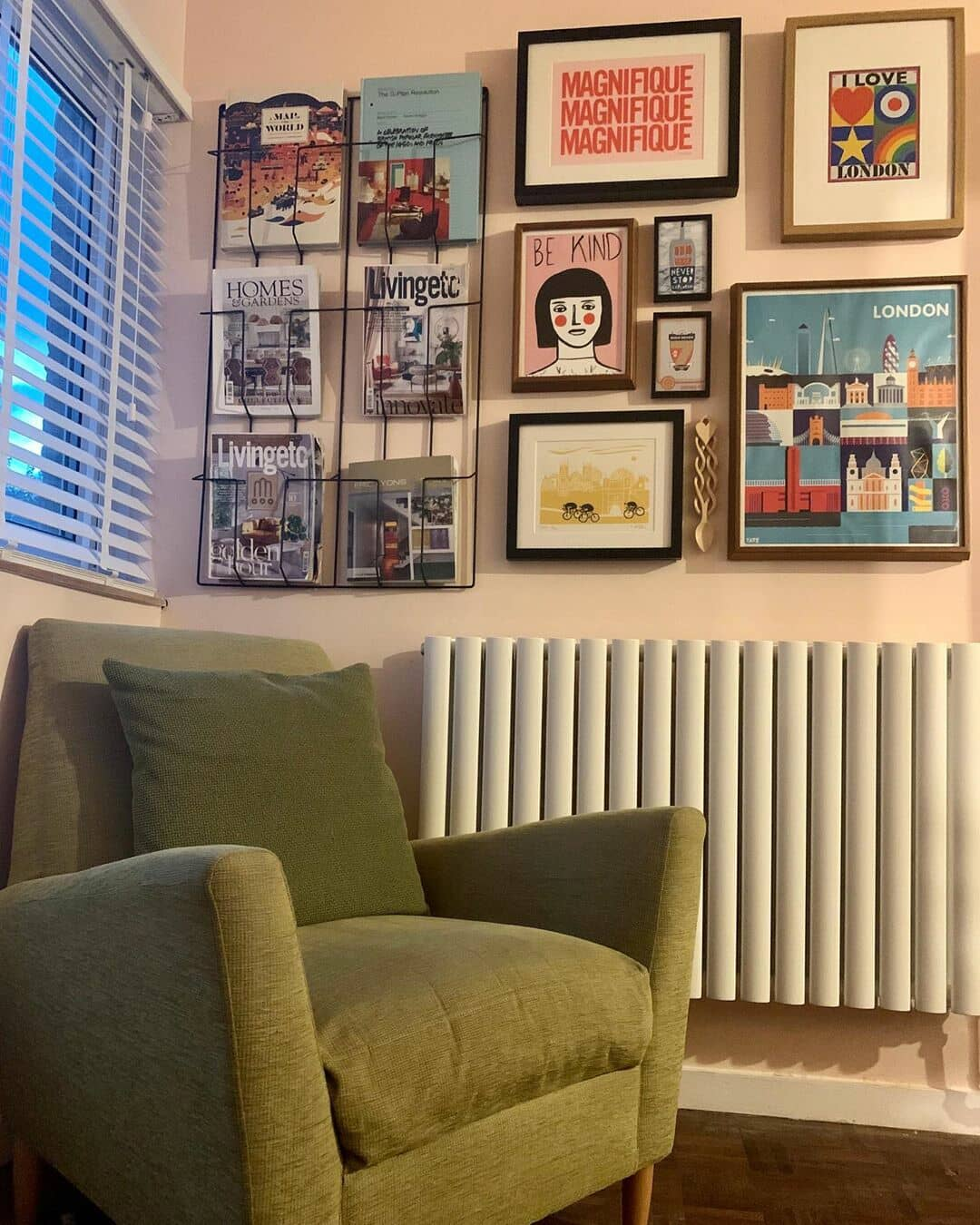white designer radiator on a gallery wall